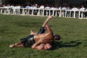 Turkish Oil Wrestler Takedown